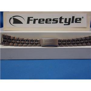 Freestyle Watch Band - Bracelet Matte Silver/Black 16mm w/FoldOver buckle