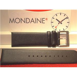Mondaine Swiss Railways Original Watch Band 22mm Black Leathr Watchband/Strap