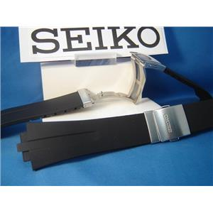 Seiko WatchBand SNA207 & SNL013 Black Resin Strap w/Push But Deployment buckle