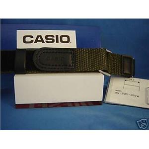 Casio watch band AW-80 V-3 Blk/Khaki Nylon Grip Sport Strap for 18mm Watches