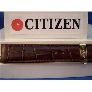 Citizen Watch Band BL8000-08 ECO Drive Brown Curved End Leather.Gold Tone Buckle