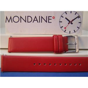 Mondaine Watch Band Original 20mm Red Mans Leather Strap w/ Logo buckle and Pins