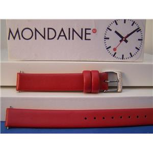 Mondaine Watch Band Original 12mm Red Leather ladies Strap w/ Logo buckle & Pins