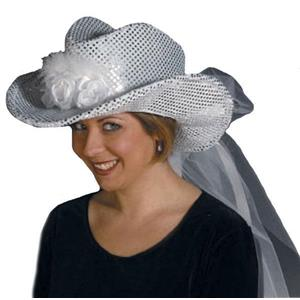 Silver Sequin Cowgirl Bride Hat with Veil Adult Bachelorette Party Accessory