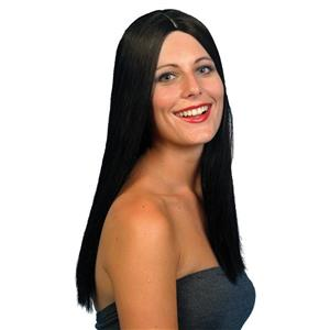 Long Black Alluring Glamour Wig with Skin Part
