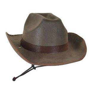 Deluxe Adult Brown Faux Leather Western Cowboy Hat