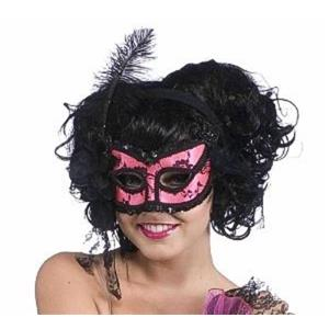 Pink & Black Burlesque Half Venetian Mask