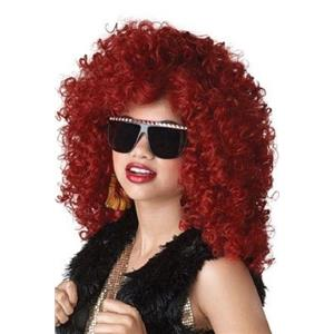 Long Burgundy Red Tight Curls Dance Hall Diva Costume Wig