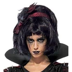 Snow Fright Short Black Wig with Bangs