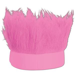 Pink Hairy Headband Troll Type Hair Attached to Knitted Band