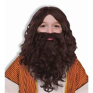 Child Biblical Brown Long Wavy  Wig and Beard Jesus Set