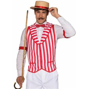 Barber Shop Quintet Red and White Striped Costume Vest X-Large