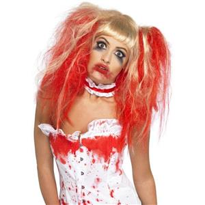 Blood Drip Wig Blonde and Red Pigtail Wig with Bangs