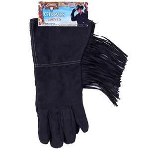 Black Cowboy Rodeo Steampunk Biker Costume Faux Leather Fringed Gloves