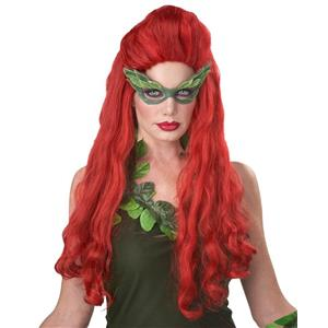 Lethal Beauty Adult Long Red Wavy Wig with Partial Updo