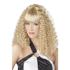 Blonde Disco Lady Spiral Curl Wig with Bangs