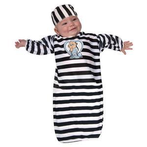 Newborn Convict Costume Black and White 0-9 months