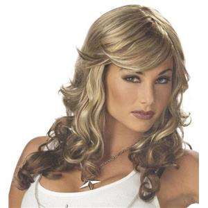 Blonde and Brown 80s Rock Vixen Diva Curls Wig with Sideswept Bangs