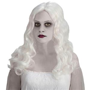 Womens Spirited Ghost Wig Long White Wavy Wig