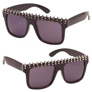 Small Spike Black Frame Dark Tinted Sunglasses