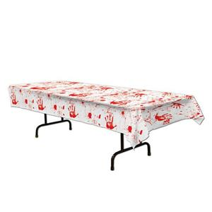 Beistle Bloody Handprints and Blood Splatter Tablecover Halloween Decoration