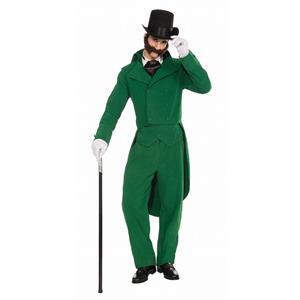 Caroling Gentleman Adult Christmas Caroler Green Suit Costume