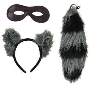 Raccoon Ears Eye Mask and Tail Costume Accessory Kit