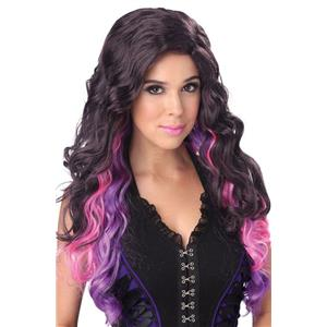 Brown Purple Pink Color Cascade Long Curly Wig