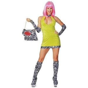 Sexy Sweet and Sour Ho Adult Costume Small Lime Green Dress with Zebra Print