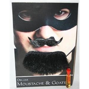 Black Spanish Amigo Deluxe Moustache and Goatee Facial Hair Kit