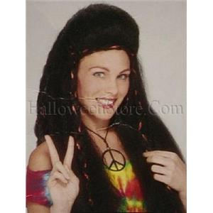 Dark Burgundy Frizzy Hippie Chick Wig with Red Ribbon