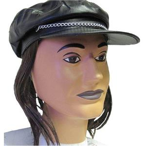Motorcycle Biker Leather Look Costume Hat Cap with Attached Dark Brown Hair