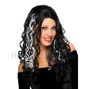 Cryptic Black and White Long Curly Wig