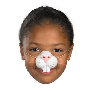White Latex Rubber Rabbit Easter Bunny Animal Nose with Elastic Band Fun For All