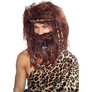 Brown Bushy Caveman Beard & Wig Set