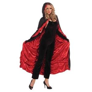 Hooded Black and Red Coffin Cape