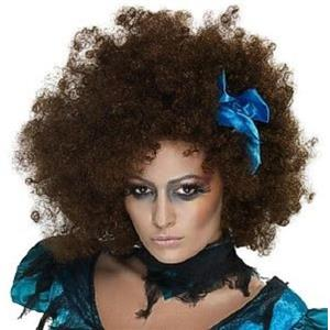 Once Upon a Nightmare Killerella Brown Afro Wig with Blue Ribbon Bow
