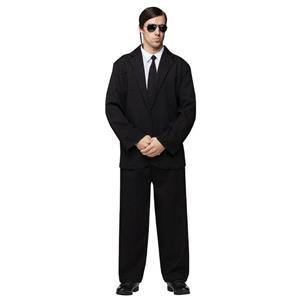 Black Suit Adult Secret Agent Gangster Spy Blues Borther Costume