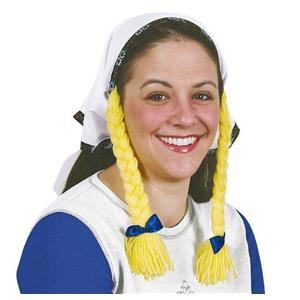 Oktoberfest Cloth Headscarf with Yarn Braids German Girl Fraulein Tavern Wench