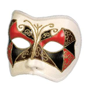 Forum Tri Color Red Black Brown Harlequin Venetian 1/2 Face Mask