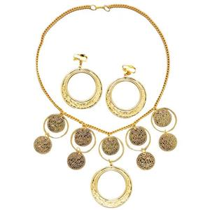 Gold Gypsy Necklace and Earrings Costume Goldtone Costume Jewelry Set