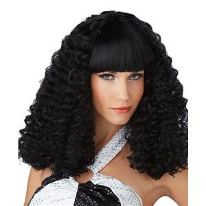 Black Disco Lady Spiral Curl Wig with Bangs