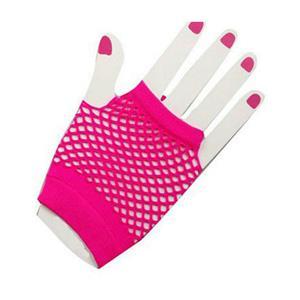 Neon Pink Short Fishnet Fingerless Wrist Gloves