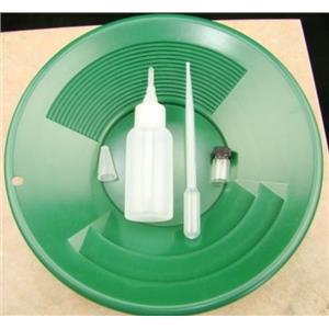 "California Gold Panning Kit -10"" Green Pan-Bottle Snuffer-Bubble Sniffer-Vial"
