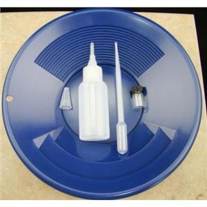 "California Gold Panning Kit -10"" Blue Pan-Bottle Snuffer-Bubble Sniffer-Vial"