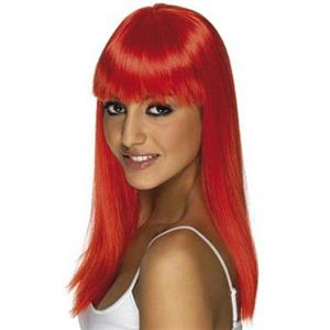 Neon Red Long Straight Glamourama Wig with Blunt Bangs