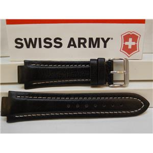 Swiss Army Watch Band Peak ll Leather Black White Stitched Padded Mens/Large