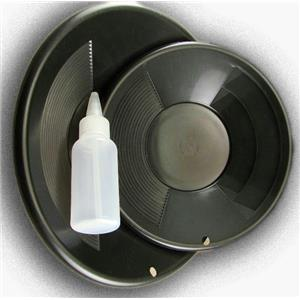 "Lot of 2 Black Double Riffle Gold Pans 1-8"" & 1-10"" w/Bottle Snuffer-Panning Kit"