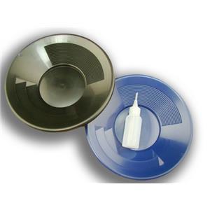 "Lot of 2- 10"" Black & Blue Gold Pans w/ Bottle Snuffer-Panning Kit-Mining"