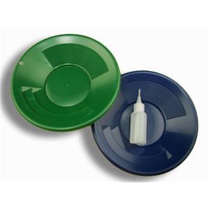 "Lot of 2 - 10"" Blue & Green Gold Pans w/ Bottle Snuffer-Panning Kit-Mining"